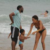 Taís Araújo dispensa babá e curte praia de Búzios com Lázaro Ramos e o filho