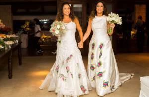 Daniela Mercury e Malu Verçosa usam vestido tradicional de noiva em casamento
