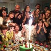 Aline Riscado festeja 6 anos do filho com o ex-marido e o namorado, Felipe Roque
