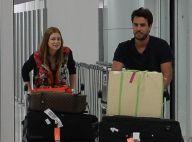 Marina Ruy Barbosa e o noivo, Xandinho Negrão, desembarcam em SP após férias