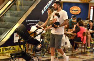 Aline Gotschalg e Fernando Medeiros curtem passeio em shopping com filho. Fotos!