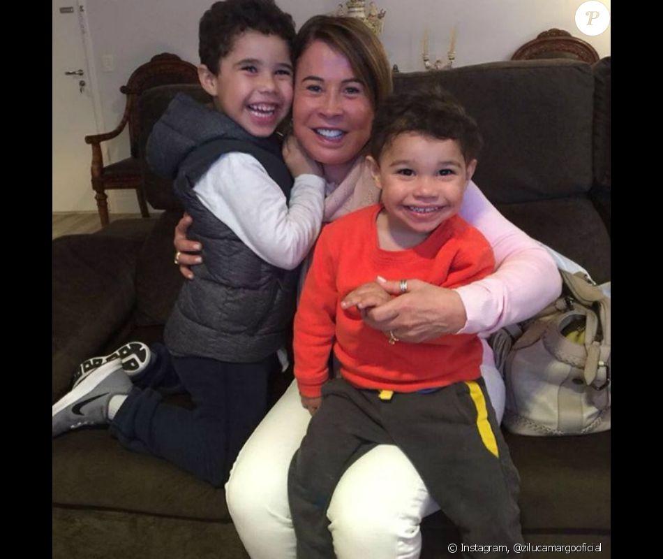 Zilu celebra Dia dos Avós em foto com filhos de Wanessa Camargo, João Francisco e José Marcus