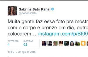 Sabrina Sato posta foto 'para irritar namorado', mas depois apaga o clique