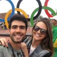 Juliana Paiva e o namorado, Juliano Laham, assistiram ao jogo das Olimpíadas Rio 2016
