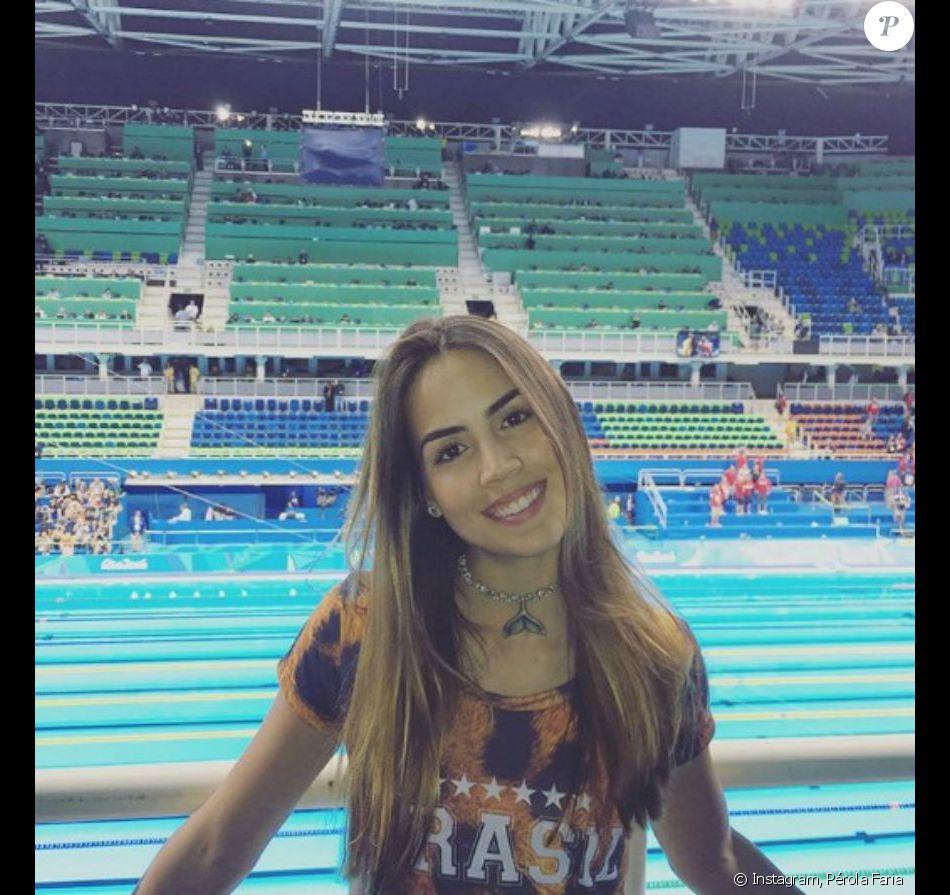 f0aa912f14 Pérola Faria foi assistir às provas de natação na Olimpíada do Rio 2016