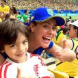 Juliana Silveira levou o filho, Bento, de 5 anos, para a semifinal Brasil x Suécia no futebol feminino, no Maracanã