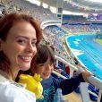 Juliana Silveira e o filho, Bento, de 5 anos, curtiram também aprovas de atletismo