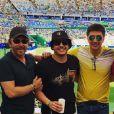 Wesley Safadão foi acompanhado dos amigos ao estádio do Maracanã e ficou na tribuna assistindo o jogo do Brasil contra Honduras, nesta quarta-feira, 17 de agosto de 2016