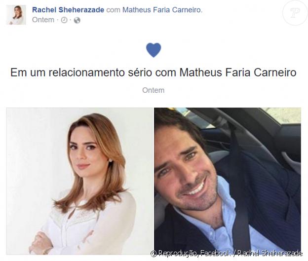 Rachel Sheherazade assumiu namoro com Matheus Carneiro, um tabelião mineiro, atualmente morando em Angra dos Reis, no Rio de Janeiro, nesta segunda-feira, 26 de dezembro de 2016