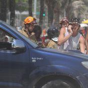 Filho de Leticia Spiller e Marcello Novaes esquece freio e carro cai na areia