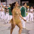 Rainha de bateria da Mancha Verde, Viviane Araújo caiu no samba no ensaio técnico da escola no Anhembi, em São Paulo