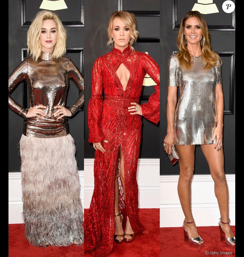 Brilho metálico e rendas marcaram presença no tapete vermelho no Grammy Awards 2017, realizado neste domingo, 12 de fevereiro de 2017
