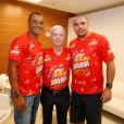 Cafu, Zagallo e Ronaldo na coletiva de imprensa do camarote da Brahma no Carnaval 2014, realizada no Maracanã, Zona Norte do Rio de Janeiro, nesta terça-feira, 18 de fevereiro de 2014