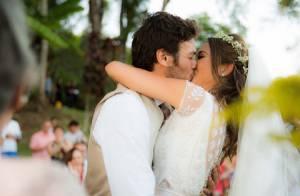 Giselle Itié usa vestido de noiva da mãe em casamento com Emílio Dantas. Fotos!