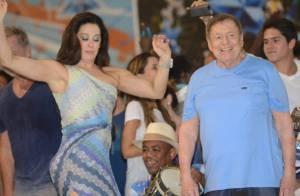 Claudia Raia samba ao lado de Boni no ensaio da Beija-Flor, na quadra da escola