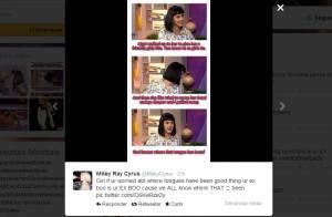 Miley Cyrus alfineta Katy Perry no Twitter e ironiza o término com John Mayer