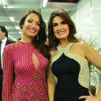 Estilo dos famosos na festa 'Vem aí', da TV Globo: as jornalistas Patrícia Poeta e Fátima Bernardes posam juntas