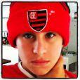 Davi Frota, filho de Carolina Dieckmann, é torcedor do Flamengo