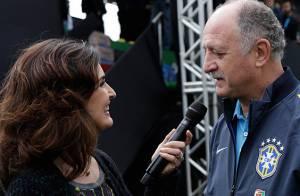 Copa do Mundo: Fátima Bernardes pede para Felipão autografar camisas da seleção
