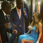 Mariah Carey anda de metrô em Nova York usando vestido de festa de gala