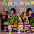 Roberta Rodrigues, Sheron Menezzes, Maíra Charken e Juliana Alves curtiram festa junina com filhos