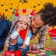 Sheron Menezzes curtiu festa junina com filho, Benjamin, de 8 meses