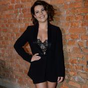 Fernanda Souza alia blazer e lingerie ao lançar programa com Luan Santana. Fotos