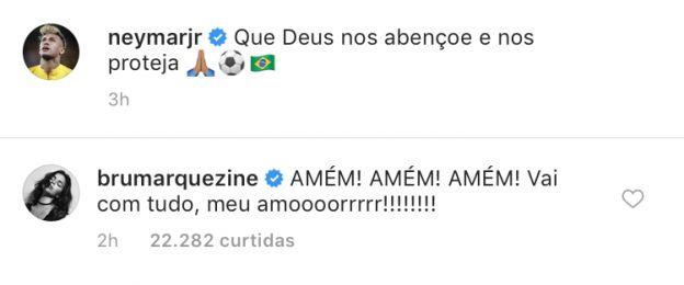 Bruna Marquezine deixa torcida para Neymar
