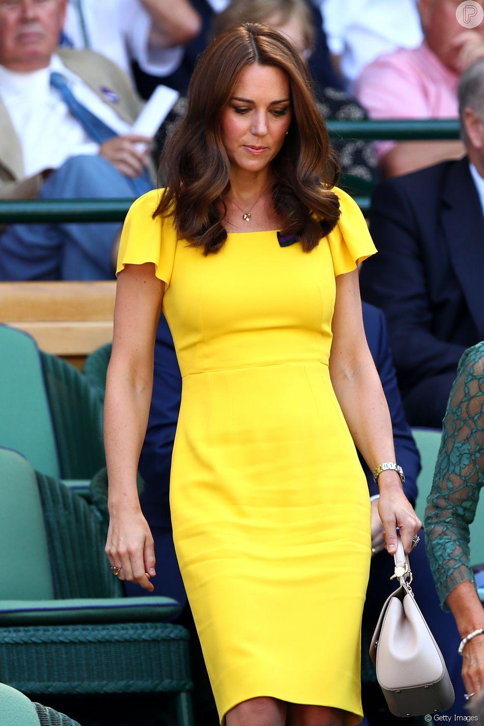 Kate Middleton acompanha o marido, príncipe William, na final masculina em Wimbledon, em Londres, na Inglaterra, neste domingo, 15 de julho de 2018