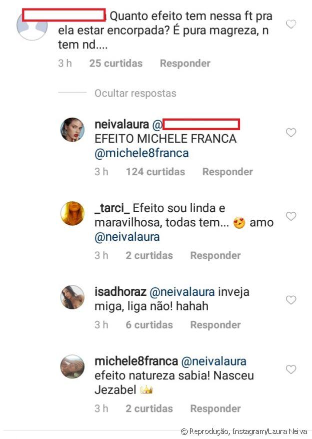 Laura Neiva ironiza comentário de internauta sobre editor de fotos