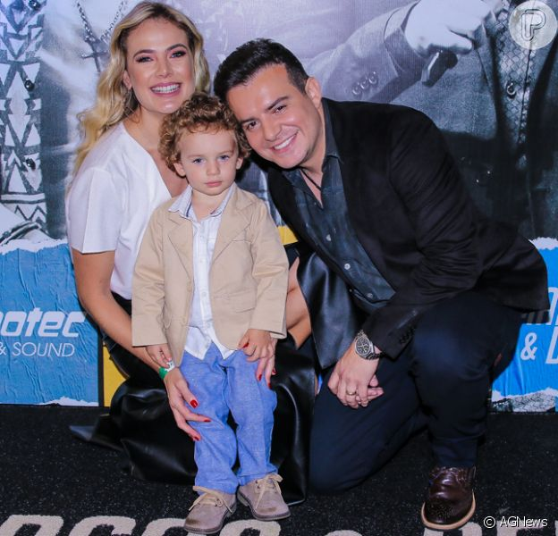 Filho de Thaís Pacholek e Belutti surge cheio de estilo na gravação do DVD 'MeB10'