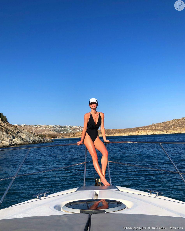 Marina Ruy Barbosa compartilha foto de meiô decotado na Grécia, em 12 de agosto de 2018