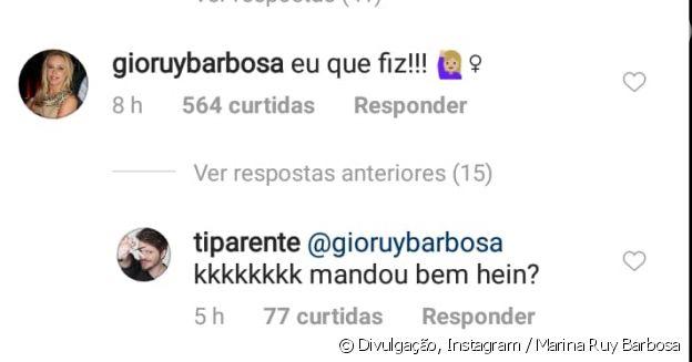 Mãe de Marina Ruy Barbosa brinca em comentário