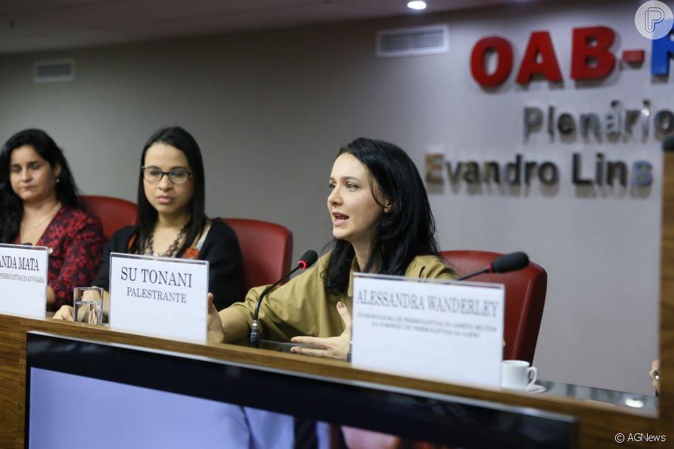 Su Tonani falou pela primeira vez sobre o assédio sofrido por José Mayer nesta terça-feira, 14 de agosto de 2018, na palestra  Mulher no Trabalho, realizada na OAB-RJ