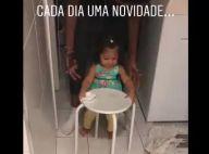 Juliana Alves mostra filha aprendendo a dar primeiros passos: 'Yolanda chegou'