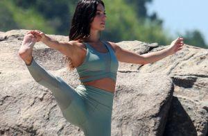 Grávida flexível! Aos 8 meses, Isis Valverde pratica pilates. Veja foto