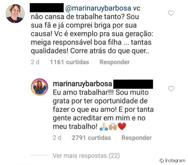 Marina Ruy Barbosa foi questionada por um fã sobre emendar trabalhos