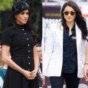 Clássico ou despojado? Meghan Markle usa preto em looks diferentes no mesmo dia