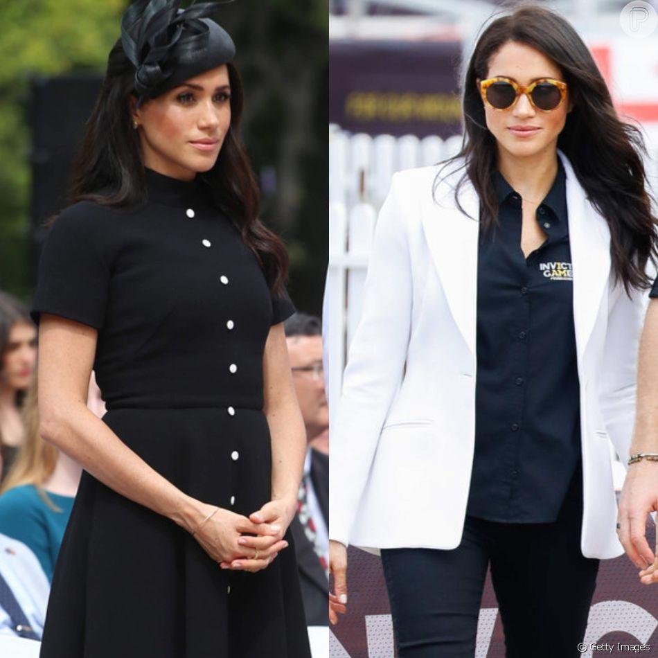 Clássico ou despojado? Meghan Markle usa preto em looks diferentes no sábado, dia 20 de outubro de 2018