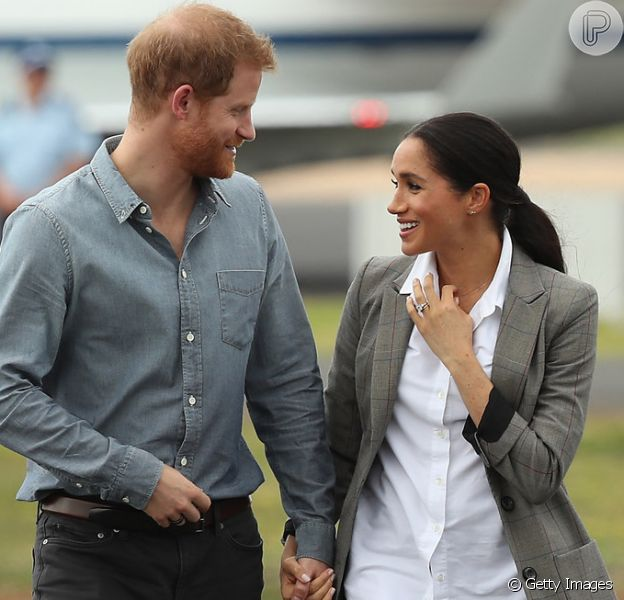 Meghan Markle e príncipe Harry comentam escolha do nome do primeiro filho durante visita à Austrália, em 21 de outubro de 2018