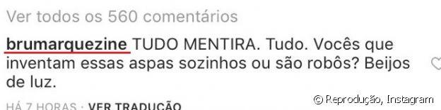 Bruna Marquezine posta comentário no Instagram e diz que não houve reaproximação com Neymar
