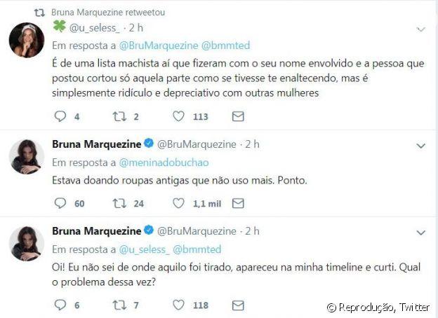 Bruna Marquezine respondeu Twitts de seguidores e se irritou com críticas