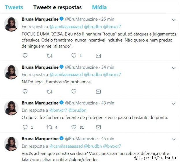 Depois de um tempo, Bruna Marquezine apagou os tweets