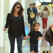 Viagem em família! Alinne Moraes e filho apostam em aerolook total black