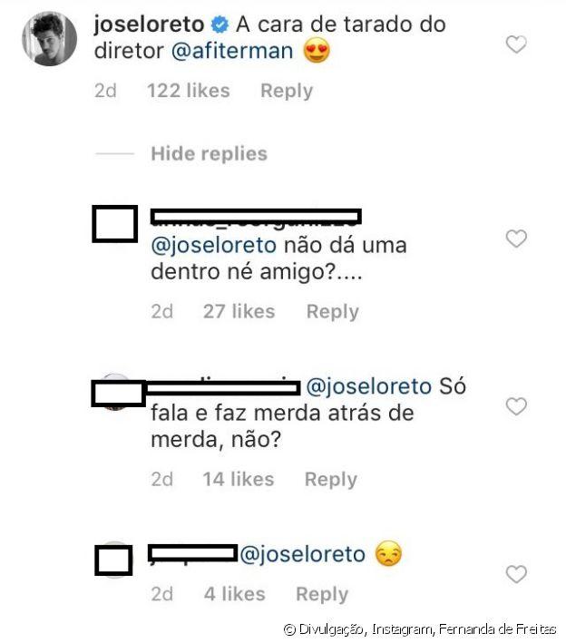 """José Loreto comenta em foto de Fernanda de Freitas sobre cena da novela """"O Sétimo Guardião"""""""
