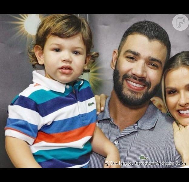 Gusttavo Lima se diverte com reação do filho Gabriel diante de aviões nesta segunda-feira, dia 13 de maio de 2019