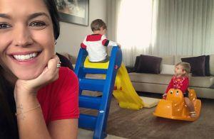 Thais Fersoza coloca gangorra e escorrega na sala de casa para filhos. Entenda!