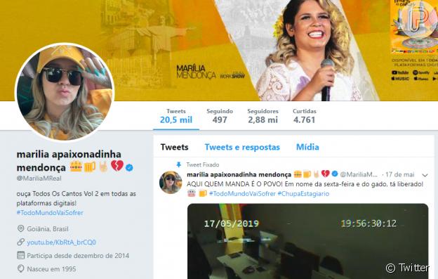 Marilia Mendonça troca nome do Twitter após assumir namoro