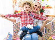 Ana Hickmann e o filho, Alexandre Jr., se vestem de caipira em ensaio. Fotos!