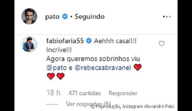 Fabio Faria deixa mensagem para a cunhada, Rebeca Abravanel, e Alexandre Pato